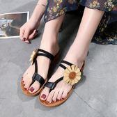 夾腳涼鞋新款夏季學生百搭簡約夾花朵女鞋子 JD3818【123休閒館】