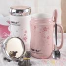 陶瓷杯子馬克杯帶蓋勺牛奶咖啡杯家用水杯【聚可愛】