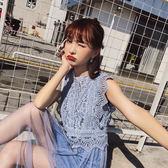 VK精品服飾 韓國風時尚蕾絲背心吊帶紗裙度假風仙女套裝無袖裙裝