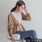 【天母嚴選】唯美燒花蕾絲領縮腰上衣(共二色)