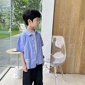 男童襯衫-純色簡約襯衫男童2021夏季新款中大童兒童裝上衣服韓版潮洋氣半袖