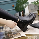 裸靴 2020秋冬新款厚底中跟韓版女鞋短靴學生馬丁靴百搭女靴子裸靴棉靴 曼慕