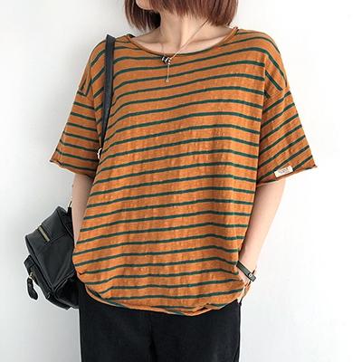 竹節棉T恤女 圓領短袖上衣 休閒打底T恤/3色-夢想家-0330