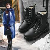 馬丁靴 新款女秋英倫風學生韓版棉鞋百搭加絨冬季雪地鞋子短靴 df6512【大尺碼女王】