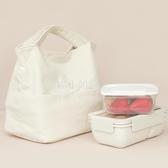簡約帶飯手提袋子裝飯盒上班族帆布包日式保溫餐盒便當裝飯便攜拎 喵小姐