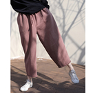 純棉加厚針織休閒褲 鬆緊腰抽繩純色衛褲-夢想家-1015