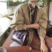 韓國東大門夏季新款復古拼色手提包ins同款寬肩帶單肩斜挎小方包