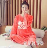 韓版甜美長袖大碼珊瑚絨睡裙女士秋冬季法蘭絨加絨大紅長款可外穿 DN20737『寶貝兒童裝』