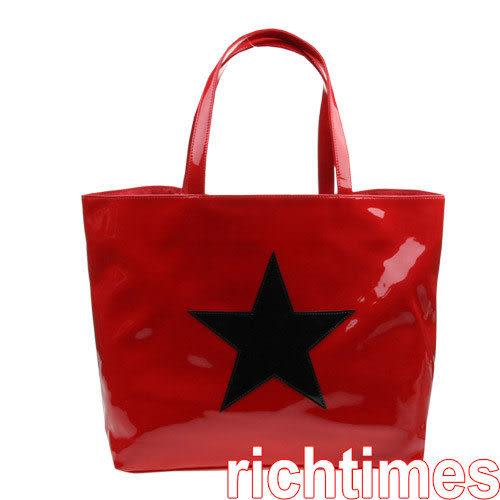 agnes b. 漆皮單星肩包(紅) AB099701