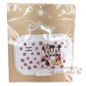 〔小禮堂〕迪士尼 米奇米妮 日製塑膠方形濕紙巾蓋《粉白.花朵》濕巾盒蓋.密封蓋 4979274-16956
