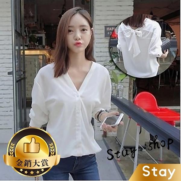 【Stay】春季新款百搭長袖韓版白色寬鬆V領蝴蝶結襯衫女【T135】