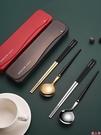 筷子勺子套裝餐具三件套不銹鋼套裝學生便攜可愛叉子創意式收納盒