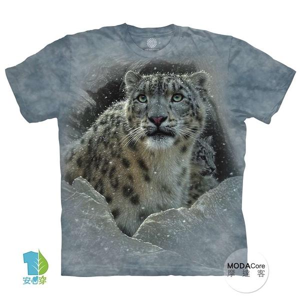 【摩達客】(預購)(大尺碼3XL)美國進口The Mountain 雪花豹 純棉環保藝術中性短袖T恤