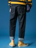 冬季加絨長褲子男士韓版破洞闊腿男生牛仔褲男寬鬆直筒老爹褲 米娜小鋪