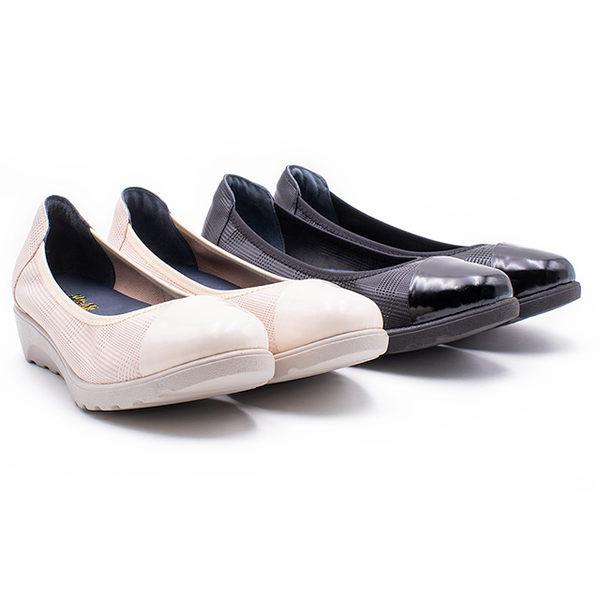 W&M 亮皮鞋頭格紋厚底娃娃 女鞋 - 米(另有黑)