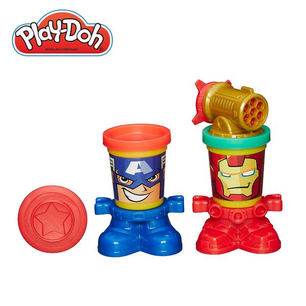 Play-Doh培樂多-漫威英雄黏土罐遊戲組-美國隊長與鋼鐵人