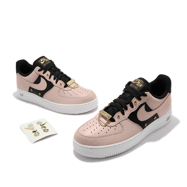 Nike 休閒鞋 Air Force 1 07 PRM 淺卡其 黑 男鞋 AF1 金屬鈕扣 【ACS】 DA8571-200