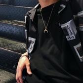 鍍金項鍊月牙角吊墜項鍊男女韓國18K金復古簡約同款鍍金銀情侶【全館免運八折下殺】