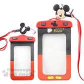 〔小禮堂〕迪士尼 米奇 防水手機袋《紅黑.白手套.造型耳機塞》 8039004-00027