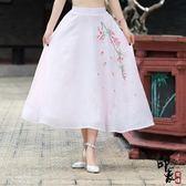 中國民族風繡花紗裙大擺裙飄逸半身裙【印象閣樓】
