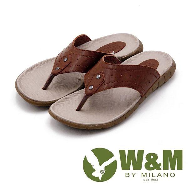 W&M 時尚機能休閒夾腳拖鞋 男鞋-棕(另有黑)