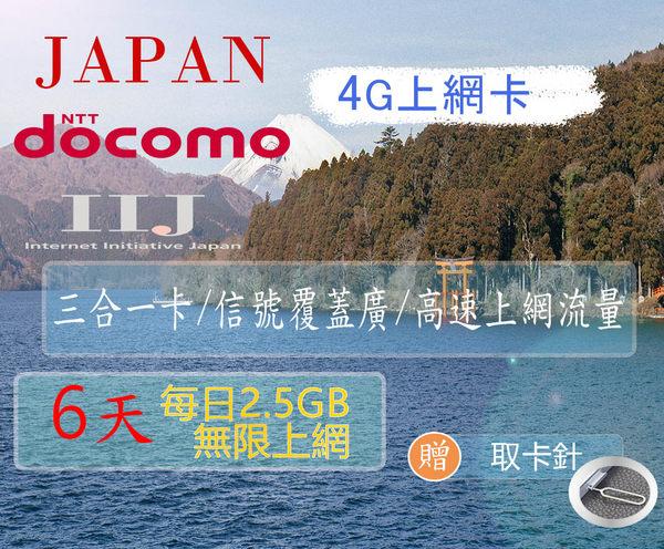 日本網卡 6天15GB吃到飽 (單日超過2.5GB降速不斷線) ☆上網卡☆網路卡☆漫遊卡☆旅遊卡☆日本