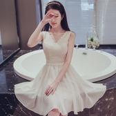 伴娘服短款2018夏季新款伴娘團禮服姐妹裙香檳色小禮服修身連衣裙
