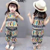 女童套裝1夏裝2新款短袖3女寶寶洋氣4棉綢兩件套5歲兒童韓版潮衣-Ifashion