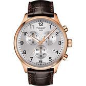 TISSOT天梭 韻馳系列 Chrono XL計時手錶-銀x玫塊金框x咖啡錶帶/45mm T1166173603700
