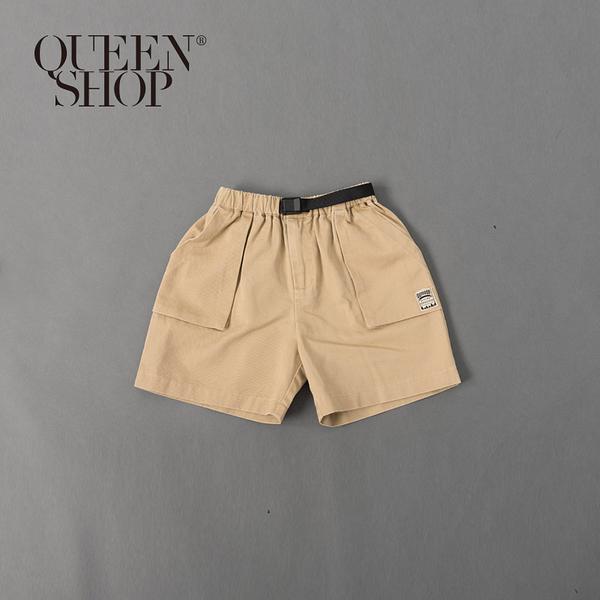 Queen Shop【04101425】童裝 親子系列 立體口袋織標短褲 S/M/L 三色售*現+預*
