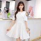 美之札[9898-JK]簡約純色露肩交叉氣質網美款連身裙小洋裝
