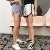運動褲  夏裝女裝韓版簡約拼色休閒運動短褲闊腿褲高腰外穿休閒褲直筒褲潮  蒂小屋服飾