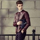 皮衣外套-歐美風格簡約率性男夾克外套2色72c14【巴黎精品】