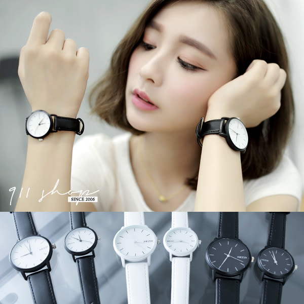 Leisure.港牌KEZZI。極簡文青感黑白凹點皮革錶帶手錶/對錶【ta010】*911 SHOP*