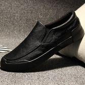 懶人鞋 男鞋春季男士休閒皮鞋懶人一腳蹬韓版百搭潮流英倫鞋子男潮鞋板鞋 唯伊時尚