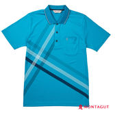 男上衣POLO衫 夢特嬌 藍色幾何條紋