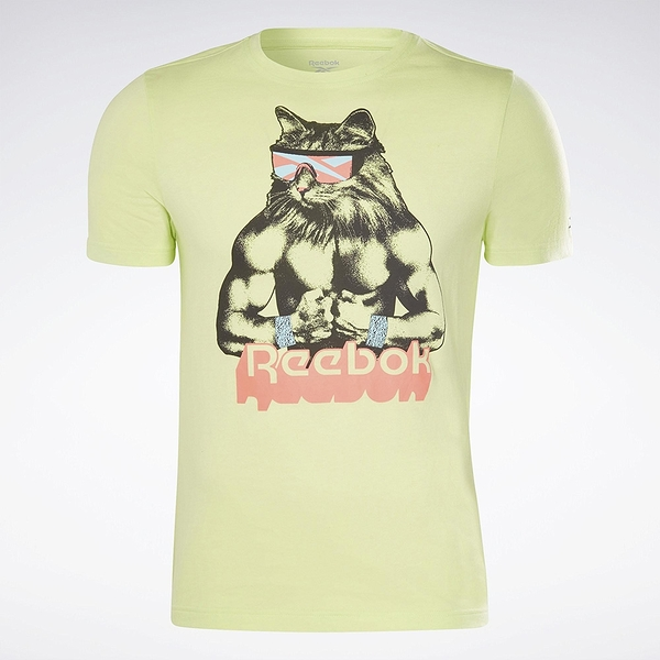 Reebok Gritty Kitty 男裝 短袖 T恤 修身 貓咪 純棉 螢光綠【運動世界】GI8393