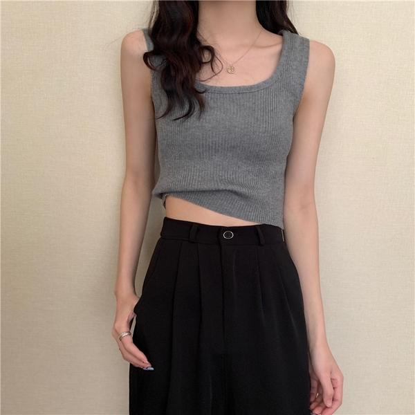 EASON SHOP(GQ1165)韓版純色坑條紋背心彈力貼身修身短版露腰圓領無袖吊帶針織合身疊穿內搭女上衣服