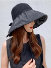 夏季黑膠蝴蝶結遮陽帽