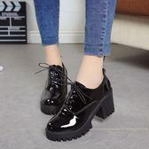 2019春季新款英倫風少女小皮鞋女士鞋子中跟粗高跟鞋增高學生單鞋