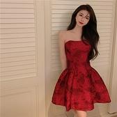 抹胸洋裝 復古紅色抹胸連身裙女夏季2021年新款裙子法式小眾名媛氣質禮服裙 韓國時尚週