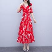 雪紡長洋裝M-3XL紅色連身裙夏天女新款收腰顯瘦氣質長裙大擺裙時尚雪紡仙女裙NB13依佳衣