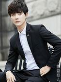 秋季男士西服外套韓版休閒小西裝套裝青年潮流修身帥氣一套上衣服 街頭潮人