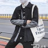 牛仔外套 春秋季男士寬鬆牛仔外套韓版潮流休閒夾克男生帥氣bf風上衣服