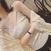 夏季歐美百搭V領針織吊帶修身顯瘦露背細肩帶打底衫內搭小背心女CY 韓風物語