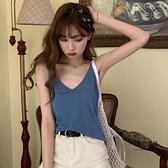 夏季韓版顯瘦外穿內搭霧霾藍打底疊穿無袖背心小可愛女上衣【聚物優品】