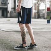 短褲 運動棉褲 鬆緊腰圍白條休閒短褲 後品牌標 【TJGPDK001】現貨+預購