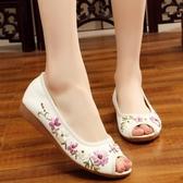 夏季新款老北京布鞋女 鞋民族繡花鞋魚嘴露趾涼鞋低坡跟單鞋子