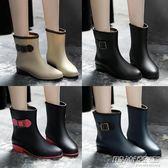 時尚韓國雨鞋女成人雨靴女士馬丁膠鞋中筒水靴防水鞋短筒防滑套鞋     時尚教主