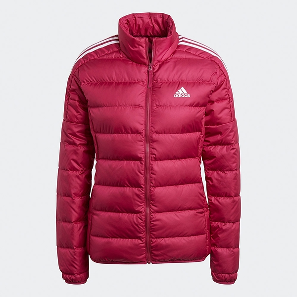 Adidas Essentials Down 女裝 羽絨外套 立領 休閒 保暖 口袋暗扣 紅【運動世界】GH4597